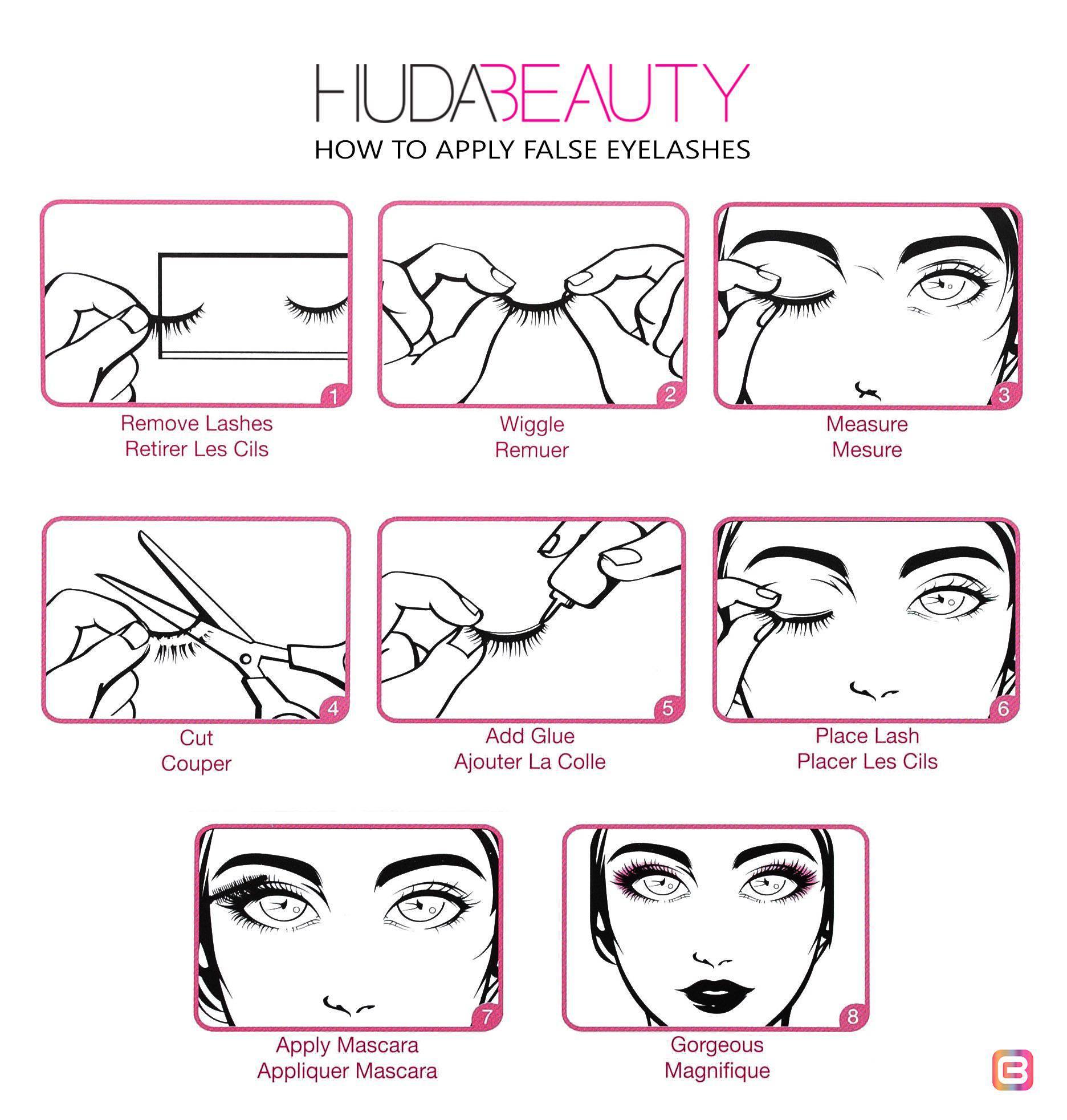Как применять накладные ресницы Huda Beauty