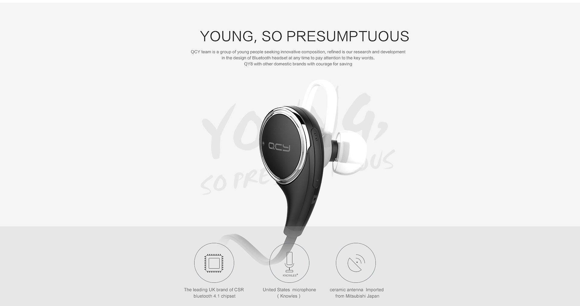 QCY QY8 Наушники с микрофоном Bluetooth 4.1 беспроводные